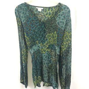 BoHo Peacock colored blouse top XL